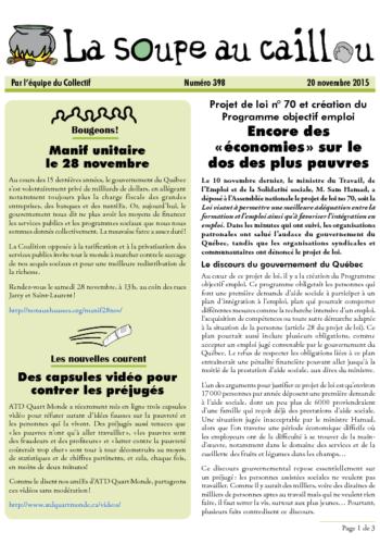 Projet de loi 70: Encore des « économies » sur le dos des plus pauvres