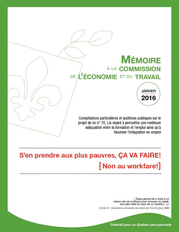 Mémoire du Collectif : «S'en prendre aux pauvres, ça va faire – NON au workfare»