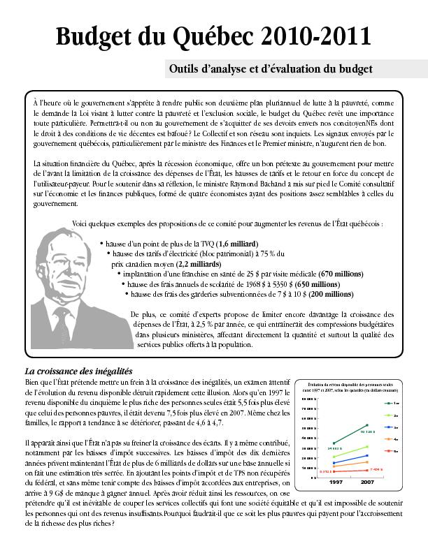 Outils d'analyse et d'évaluation du budget