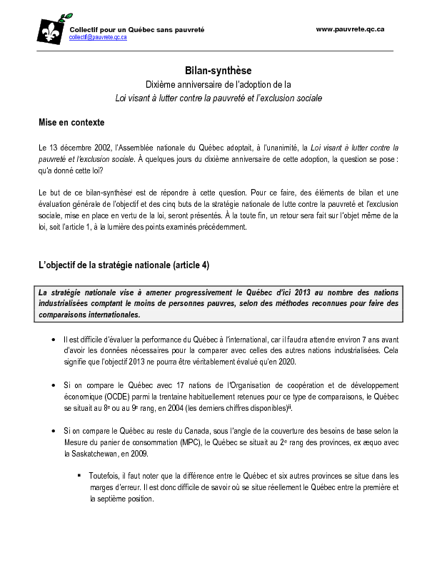 Bilan-synthèse