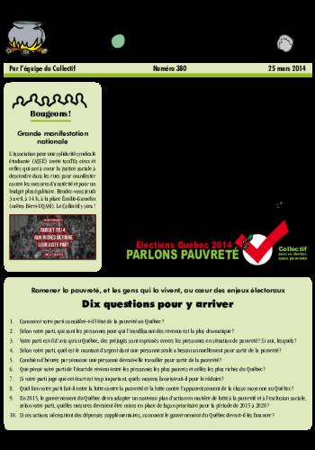 Élections québécoises 2014 – Les partis répondent aux questions du Collectif