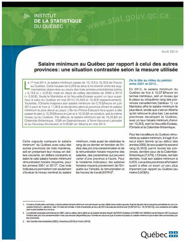 Salaire minimum au Québec par rapport à celui des autres provinces: une situation contrastée selon la mesure utilisée