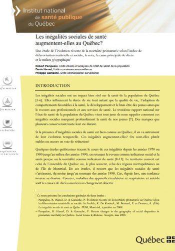 Les inégalités sociales de santé augmentent-elles au Québec?