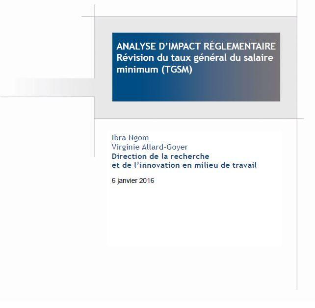 Analyse d'impact réglementaire – Révision du taux général du salaire minimum