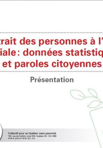 Portrait des personnes à l'aide sociale: données statistiques et paroles citoyennes