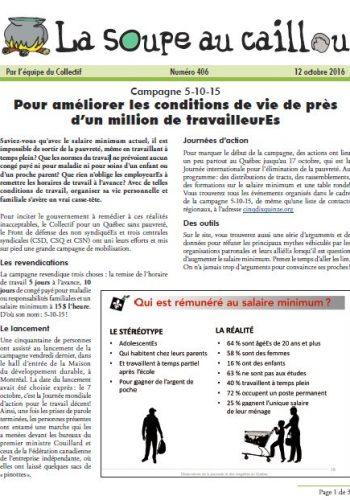 Campagne 5-10-15: Pour améliorer les conditions de vie de près d'un million de travailleurEs