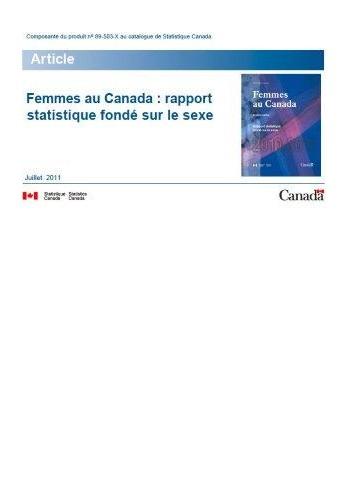 Femmes au Canada : rapport statistique fondé sur le sexe