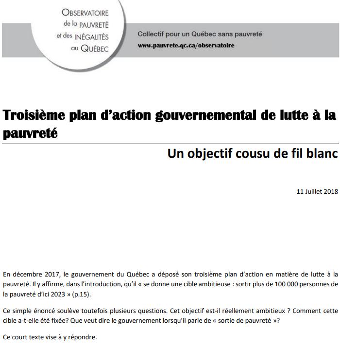 Troisième plan d'action gouvernemental de lutte à la pauvreté: un objectif cousu de fil blanc
