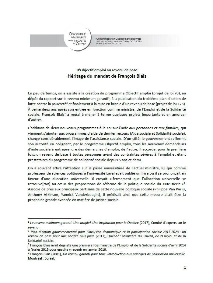 D'Objectif emploi au revenu de base : Héritage du mandat de François Blais