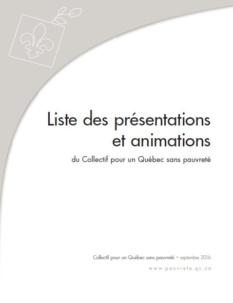 Liste des présentations et animations du Collectif pour un Québec sans pauvreté
