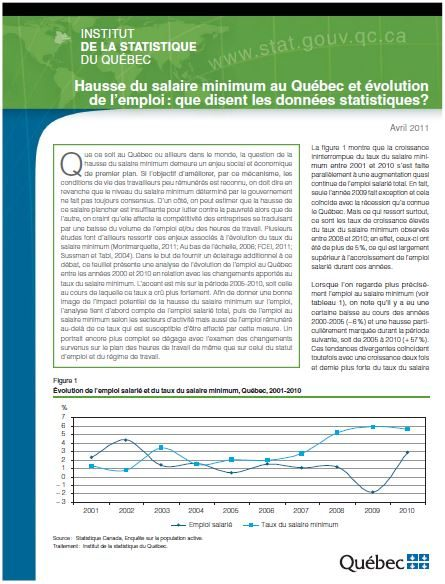 Hausse du salaire minimum au Québec et évolution de l'emploi : que disent les données statistiques ?