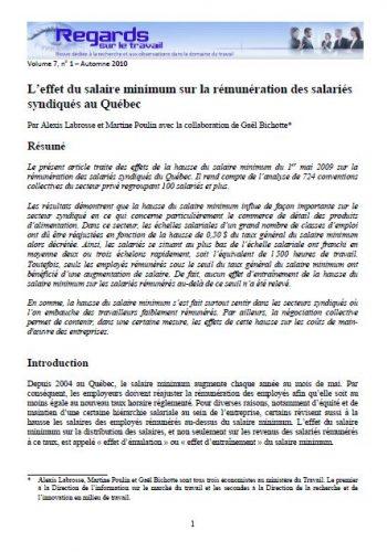 L'effet du salaire minimum sur la rémunération des salariéEs syndiquéEs au Québec