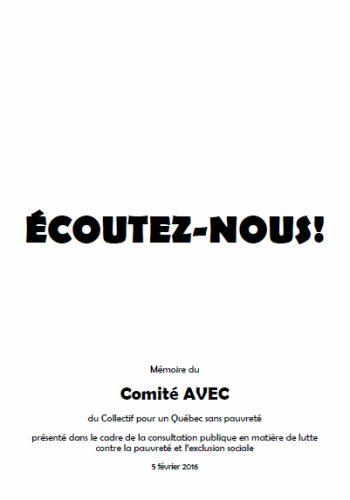 Mémoire du Comité AVEC: «Écoutez-nous!»