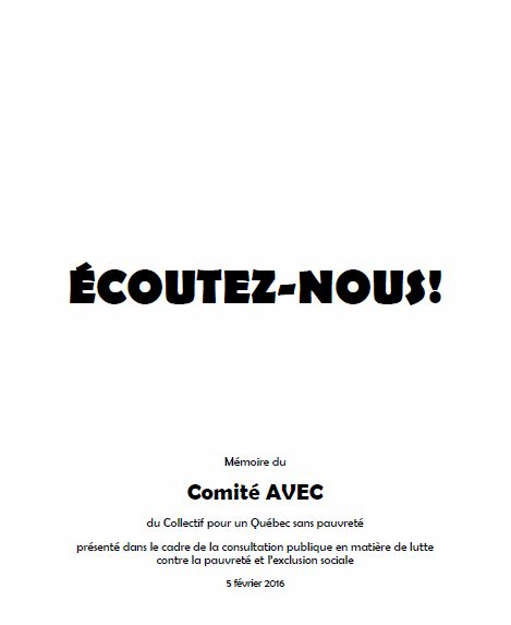 """Mémoire du Comité AVEC: """"Écoutez-nous!"""""""