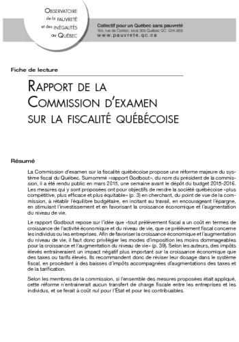 Rapport de la Commission d'examen sur la fiscalité québécoise