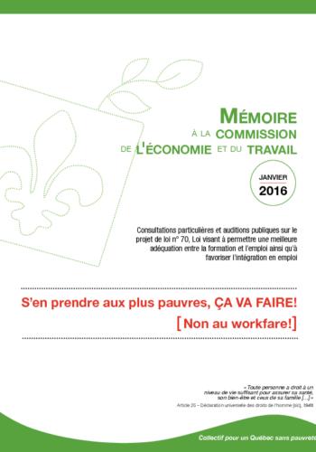 """Mémoire du Collectif : """"S'en prendre aux pauvres, ça va faire – NON au workfare"""""""