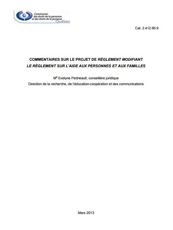 Commentaires sur le projet de règlement modifiant le Règlement sur l'aide aux personnes et aux familles