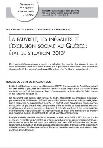La pauvreté, les inégalités et l'exclusion sociale au Québec : état de situation 2013