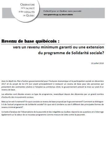 Revenu de base québécois : vers un revenu minimum garanti ou une extension du programme de Solidarité sociale?