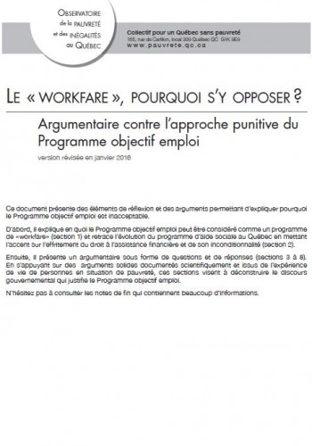 Le workfare, pourquoi s'y opposer?
