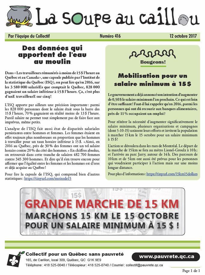 Mobilisation pour un salaire minimum à 15$