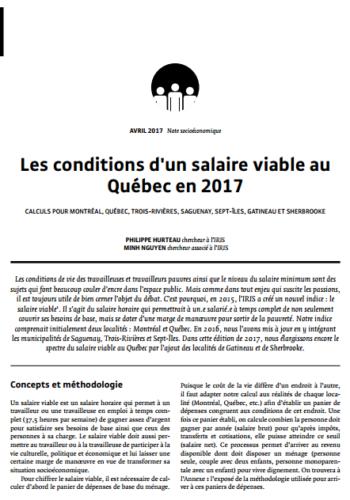 Les conditions d'un salaire viable au Québec en 2017