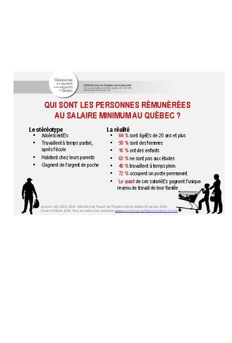 Confronter les stéréotypes – Qui sont les personnes rémunéréEs au salaire minimum au Québec ?