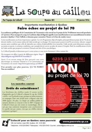 Faire échec au projet de loi 70